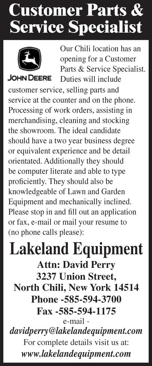 Lakeland Equipment 2x5 cust parts & serv