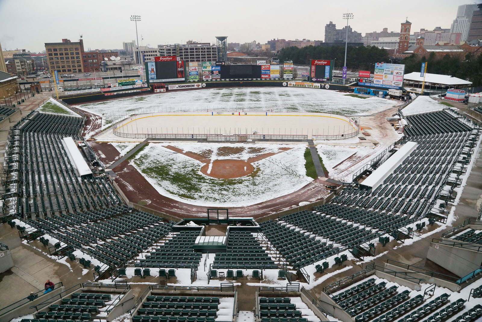The rink as seen from the press box at Red Wing Stadium at Frontier Field.