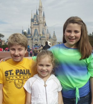 Riley, Sadie (center) and Molly Ball at Disney World.