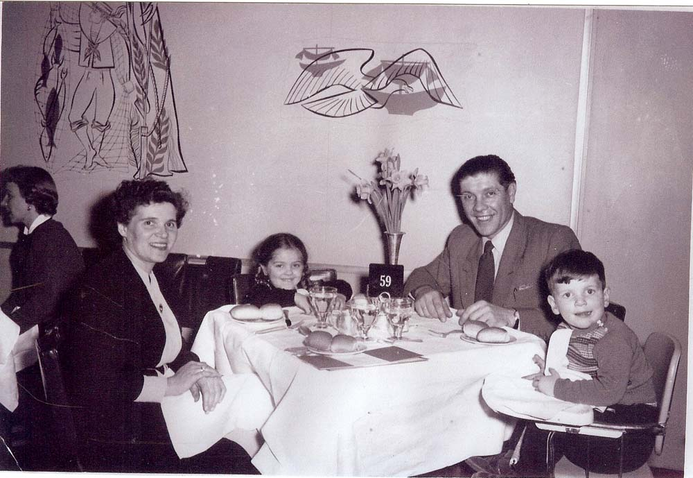 Anneliese (with stowaway) Carmen, 4; Michael; Peter, 2. February 15, 1954 on the SS United States on which they sailed from Bremerhaven, Germany to New York City.