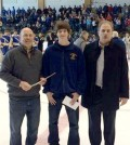 Spencerport senior Jackson Charron (center) with Amerks Hall of Famer Jody Gage and Rick Altieras.