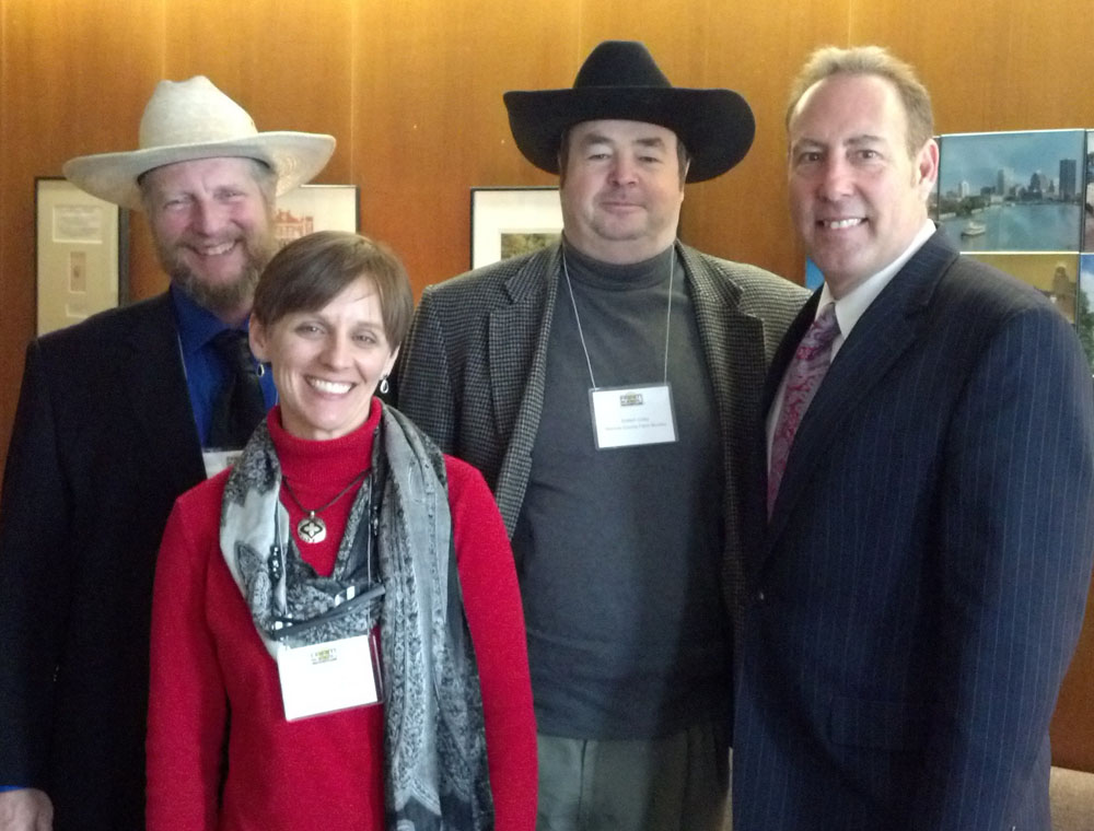 Monroe County Farm Bureau members meet with Senator Joseph Robach at Farm Bureau's Lobby Days to discuss this year's top agricultural issues. Pictured from left to right:  Kim Zuber, Marie Krenzer, Robert Colby, Senator Joseph Robach.