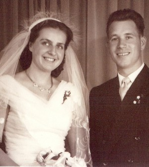 Ruth and Kurt on their wedding day, June 14, 1955 at St. Michael's Church in Rochester.
