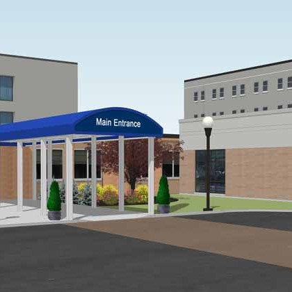 A rendering of the new Strong West entrance.