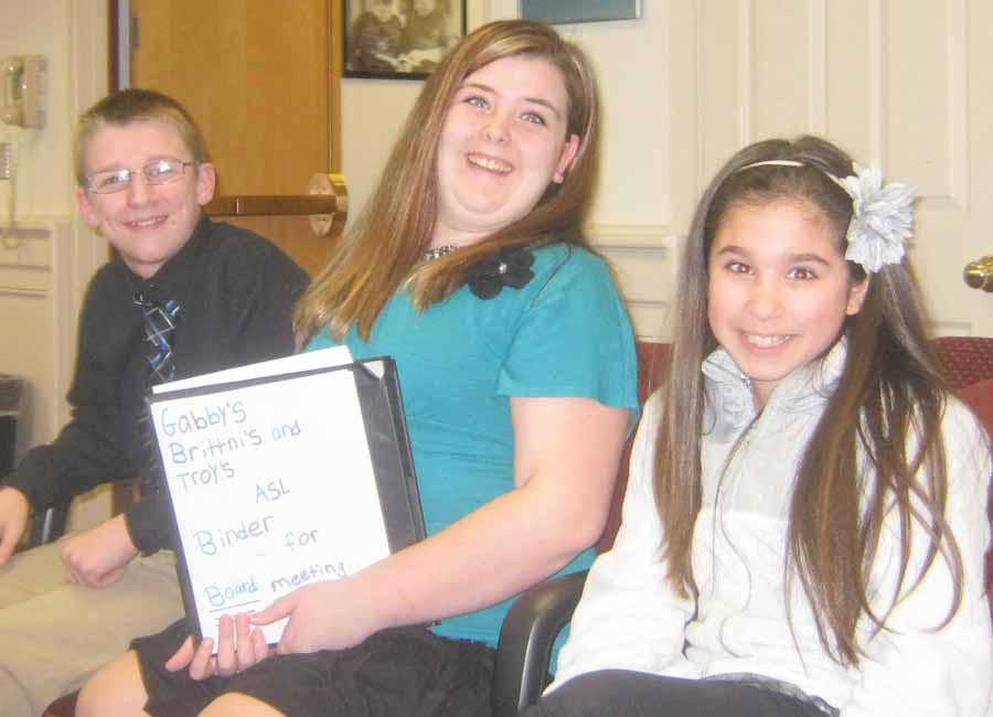 Oliver Middle School students who presented a proposal to Brockport Board of Education to begin sign language classes (l to r) Troy Ferris, 8th Grade; Gabby Schlieter, 6th Grade; Brittni Corter, 6th Grade.
