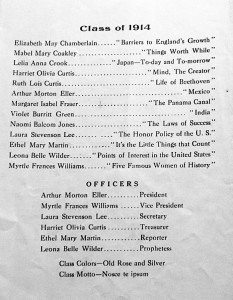 A page from the Graduation Program, 1914.