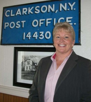 Clarkson Town Council member Jackie Smith posing at the Clarkson Town Hall. She will have to run in the fall of 2014 to complete the term and then again in 2015 for a new term.