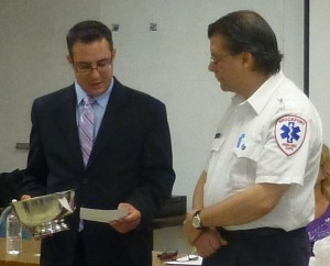 A large engraved silver bowl was first awarded to Brockport Ambulance in 1965 for the group's efforts to provide emergency medical services to the greater Brockport area. The bowl was recently  re-presented to emergency volunteer David Rice and all corps members.