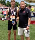 Tyler Ranke at the New Balance Nationals with his coach, Jeff Merkel.