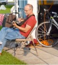 Jim Foote provided music at the Great Big FANY Ride Camp-out in Brockport, Sunday, July 20.
