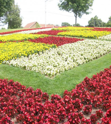 "The Quiet Garden in Middlebury, Indiana is designed in a ""bow tie"" pattern created with wax begonias and marigolds."