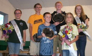2014 Orleans County 4-H Fair Royalty - Front Row:  Prince Jacques Gregoire and Princess Grace Gregoire; back row: Dutchess Rachel Gregoire, Duke Zachary Moore, King Ian Smith and Queen Jordyn Smith. The fair royalty is chosen by 4-H leaders and fair volunteers for their active participation in 4-H, particularly during fair week.  They will represent 4-H during the coming year at events and parades and the King and Queen attend monthly Fair Board meetings.