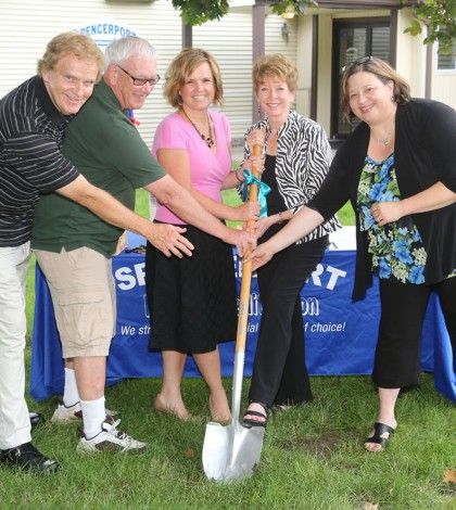 Shown (l to r) Dave Moore - board president, Bill Fitzgerald, board member, Jill Cordts, Spencerport Area Chamber of Commerce president, Gay Lenhard - Ogden Town supervisor, Nancy Bodhorn - Spencerport Federal Credit Union manager.