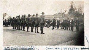 This photo provided by Hilton Historian Dave Crumb shows Civil War veterans lined up facing new World War I recruits on Main Street in Hilton about 1917.