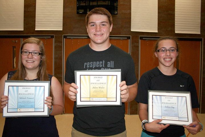 Hundred Club winners (l-r): Michaela Kenward, Adam Walter and Collen Clay were recognized on the first day of school for achieving a perfect score on a NYS Regents exam.