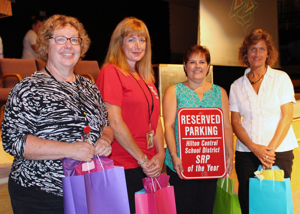 Shown above (l-r) Hilton School Related Professional (SRP) of the Year nominees Grace Lobel, Lora Leo, Bonnie Chiella and Kathy Neefe. Not shown, Karen Keymel. Chiella was presented the SRP of the Year Award on September 2.