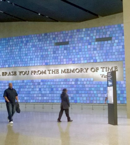 "The Wall of blues represents the beautiful blue sky on September 11, 2001. ""No day shall erase you from the memory of time"" is a quote by Virgil, the ancient Roman poet. Photo by Marjorie Beldue."