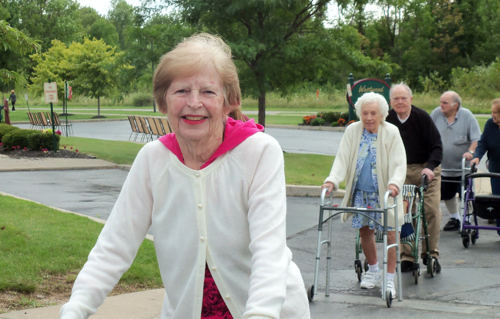 Westwood Commons residents Betty Kates, Helen Jakabowski, Robert Holdridge, Frank Ruggerio, Marion Schmeer participate in the DePaul Senior Living Community's Eighth Annual Walk for Charity.