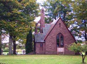 The chapel, constructed of rough cut Medina Sandstone, was open during a September 21 celebration at Hillside Cemetery in Holley. File photo.