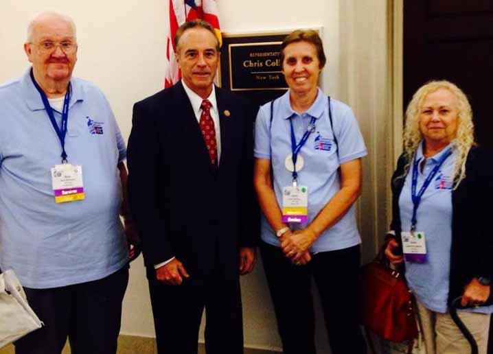 Pictured left to right: Robert Williams, ACS CAN Ambassador, Congressman Chris Collins, Kathy Williams, ACS CAN Ambassador from Holley, and Suzie Solender, ACS CAN Ambassador.