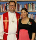 Trinity Lutheran Church pastor Matthew W. Canaday and his wife, Bethany, with Rev. Chris C. Wicher.