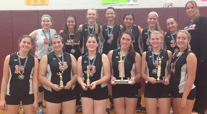 The Churchville-Chili Girls Volleyball Team: (back row, left to right): Sarah Huzyk, Melissa Prewasnicak, Olivia Lydon, Lizzy Beach, Emma Yarid, Danielle King, Gina Pellerino, Coach Cherisse Lambiase; (front row, left to right): Caterina Bencivenga, Stefanie Stefanovski, Danielle Cox, Viviana Lisboa, Alison Vannest, Taylor Russell.