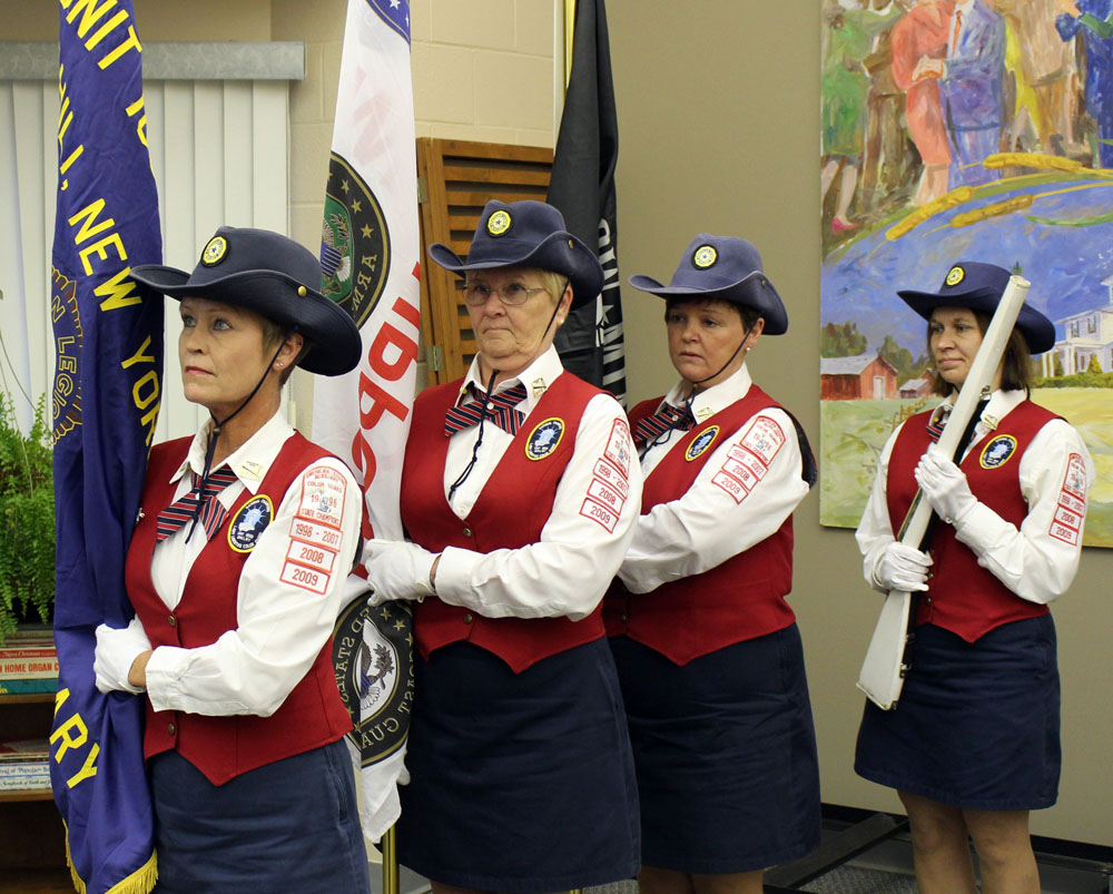 The Lady Liberties Auxiliary Color Guard, part of the Chili American Legion Post 1830, posted and retired the Colors during the Chili Veterans Celebration. Shown are (l-r) Patricia Burchill, Dottie Coene, Dawn Traina and Dana Horn. Photograph by G. Griffee.