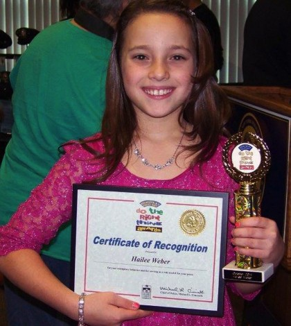 """Hailee Weber, a fifth grader at Northwood Elementary School, was recently awarded the """"Do The Right Thing"""" Award from the City of Rochester for saving a child from drowning."""