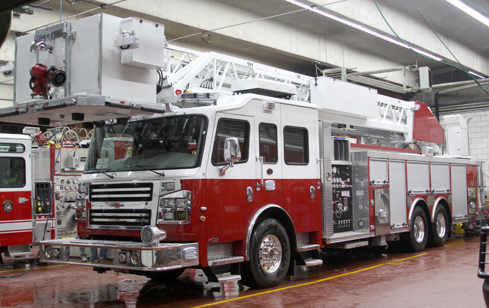 Brockport's new Quint 230 is equipped with a platform on the ladder which increases safety in rescues.