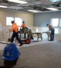 Workers were busy in early December completing renovations to the Ortho/Rehab Facility at Strong West in Brockport. Above, they are shown at work in the Sports and Spine Rehabilitation portion of the office. K. Gabalski photo.