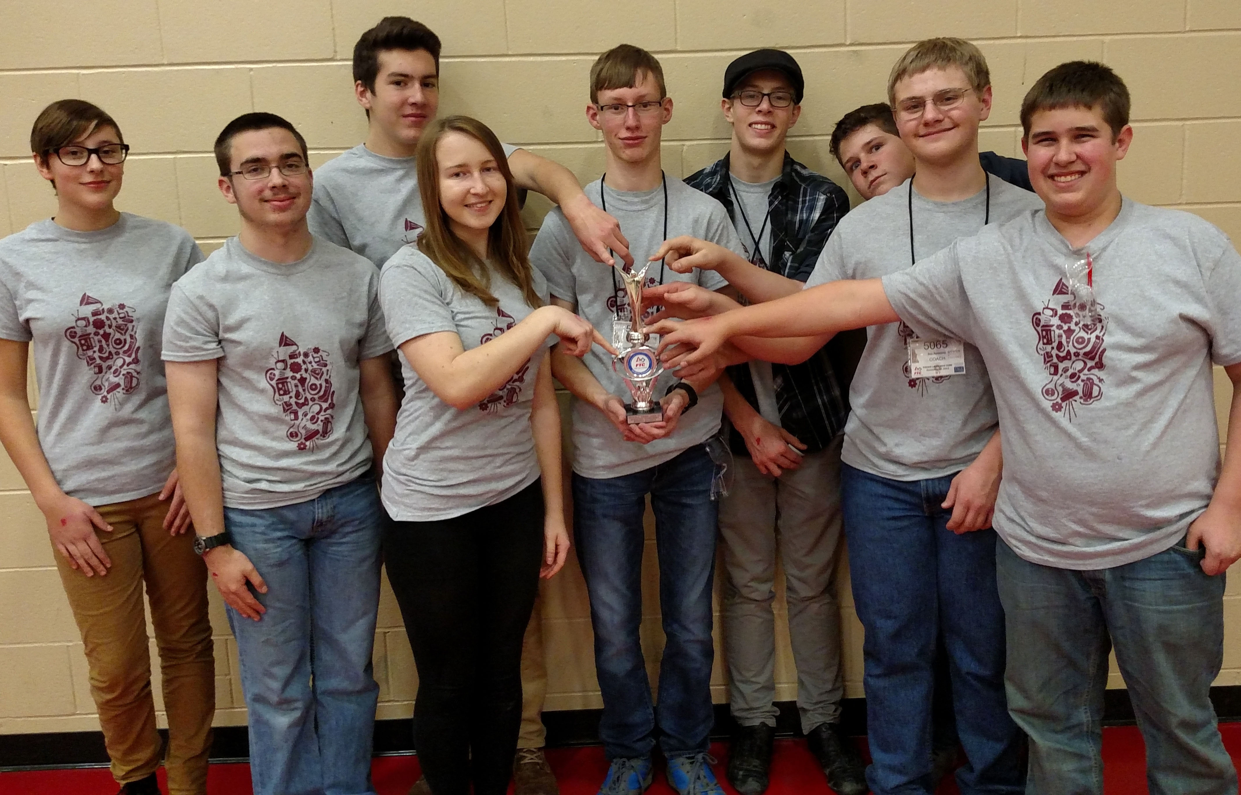 The Byron-Bergen High School Robotics Team (l-r) Celia Mercovich, Ben Chaback, Josh Phelps, Clare Fraser, Matt Hilbert, Nate McCarthy, Josh Bush, Nick Kelly and Dan Jensen.