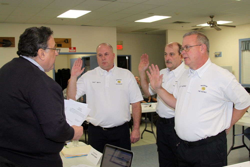 Recently sworn-in Brockport Fire District Chiefs with Ray DiRaddo who administered the oath of office. Provided photo.