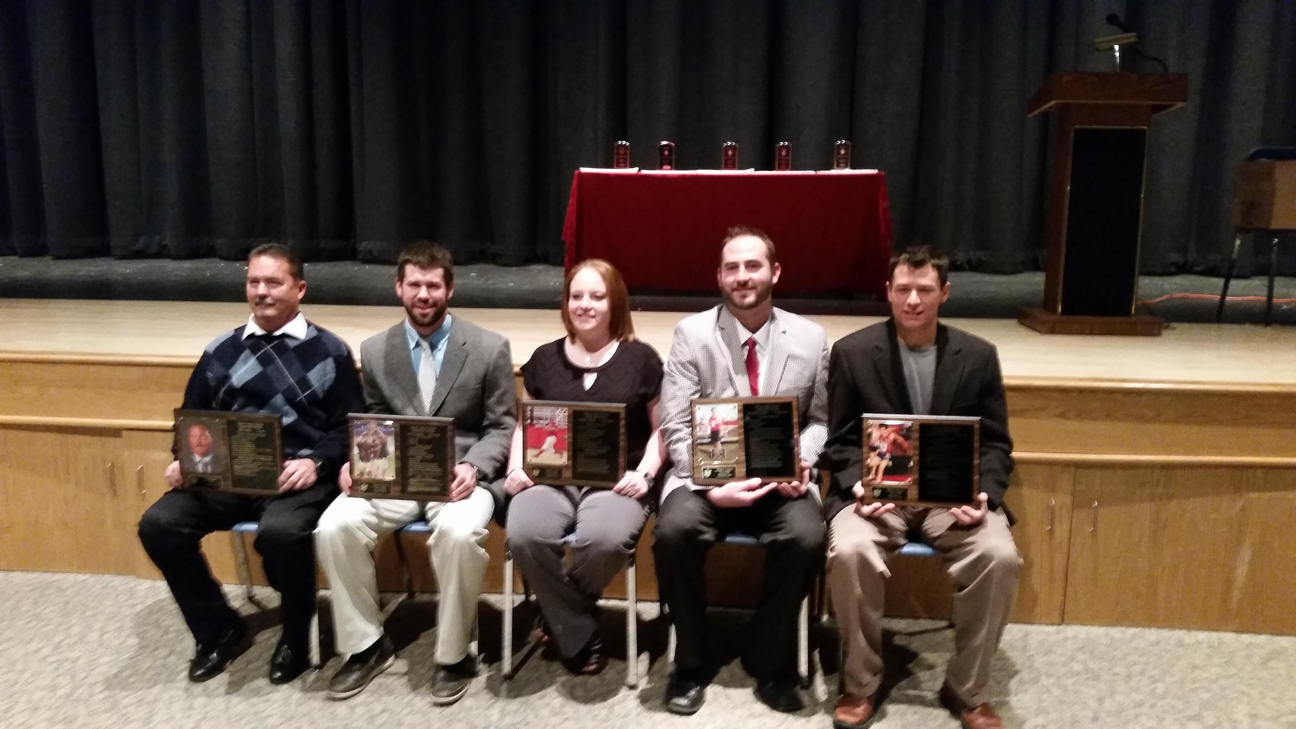 Inducted into the Hilton CSD 2014 Athletic Hall of Fame are: (l-r) John Feeney, gymnastics coach; Jonathan Schwind, 2008; Rachel Clonick, 2006; Matthew Cushman, 2001; and Matthew Blodgett, 1995.