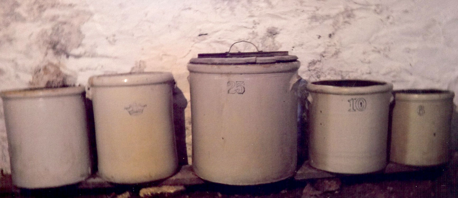 Stoneware crocks were important for folks in their efforts to preserve food for winter months. Shown above from the right: six gallon crock used storing eggs; 10 gallon crock used for making sauerkraut; 25 gallon crock used to preserve pork; smaller crocks may have been used to store salt port. Photograph by Joe Reinschmidt who lives on the Parma farm where he was raised.