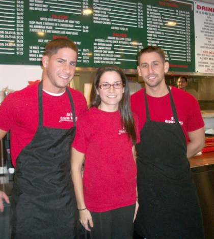 Kyle, Lindsay and Jimmy Nucelli (l to r), the owners and operators of Jim's Ground Round behind the counter. K. Gabalski photo.