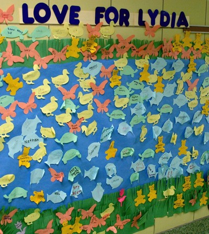 A collage in a Chestnut Ridge School hallway recognizes supporters of all grade levels who helped honor the memory of Lydia Tata who died in early January.