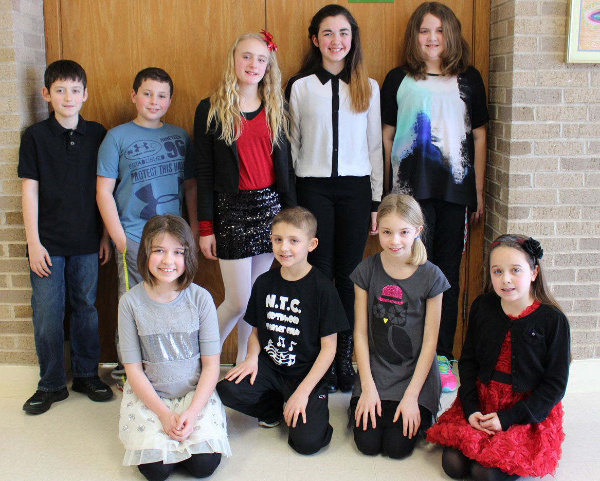 Students in Laura Mayer's fifth grade class at Northwood Elementary School spent three weeks preparing for a presentation about the International Baccalaureate Middle Years Programme. The presentation was attended by 25 adults from the community and Hilton School District. Shown are: (front, l-r) Miranda Wandtke, Giorgio Giuliano, Sydney Michalowski and Madalyn Mascadri; (back) Doran Indelicato, Ryan Cooke, Lexa Polito, Elena DelCorvo and Jillian Verhay. Provided photo