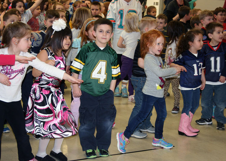 Byron-Bergen K-2 students move to the music as they celebrate the start of several new healthy initiatives at the school: Fuel Up to Play 60 and Jump Rope for Heart.
