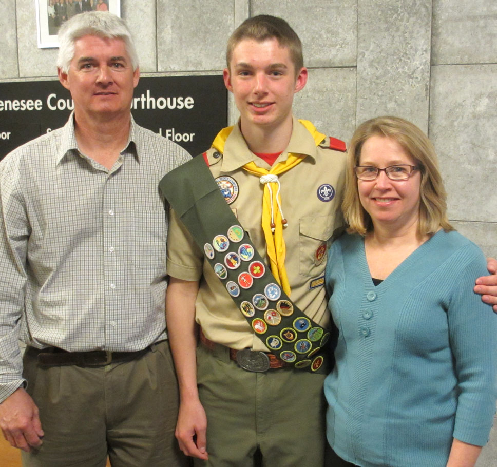 Newly-recognized Eagle Scout Luke Hollenbeck with parents, Kevin and Christine Hollenbeck. Provided photo