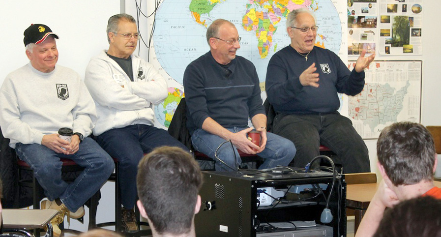 Members of Vietnam Veterans of America Chapter 20 answer questions about the Vietnam War from students in Churchville-Chili AP U.S. History class. (l-r) Chuck Macaluso/U.S. Marines; Valentino Gatto/U.S. Army; Ronald Trovato/U.S. Army; Kenny Allocco/U.S. Air Force. Provided photo