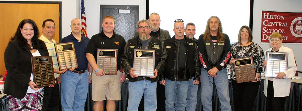 The 2015 Hilton Central School District Friends of Education are: (l-r) Christine Gizzi, Ron Bourret, Steve DeLucia, Tony Caraglio, The Old Cruzers - Doc Wiggins, Ron Sears, Todd Greenville, Joe Wiggins and Mark Paradies, Karen Reynolds and Joan Potter. Not shown, George Kaufman. Provided photo