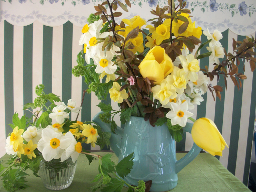 A grouping of springtime flower arrangements.