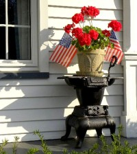 geraniums and flags