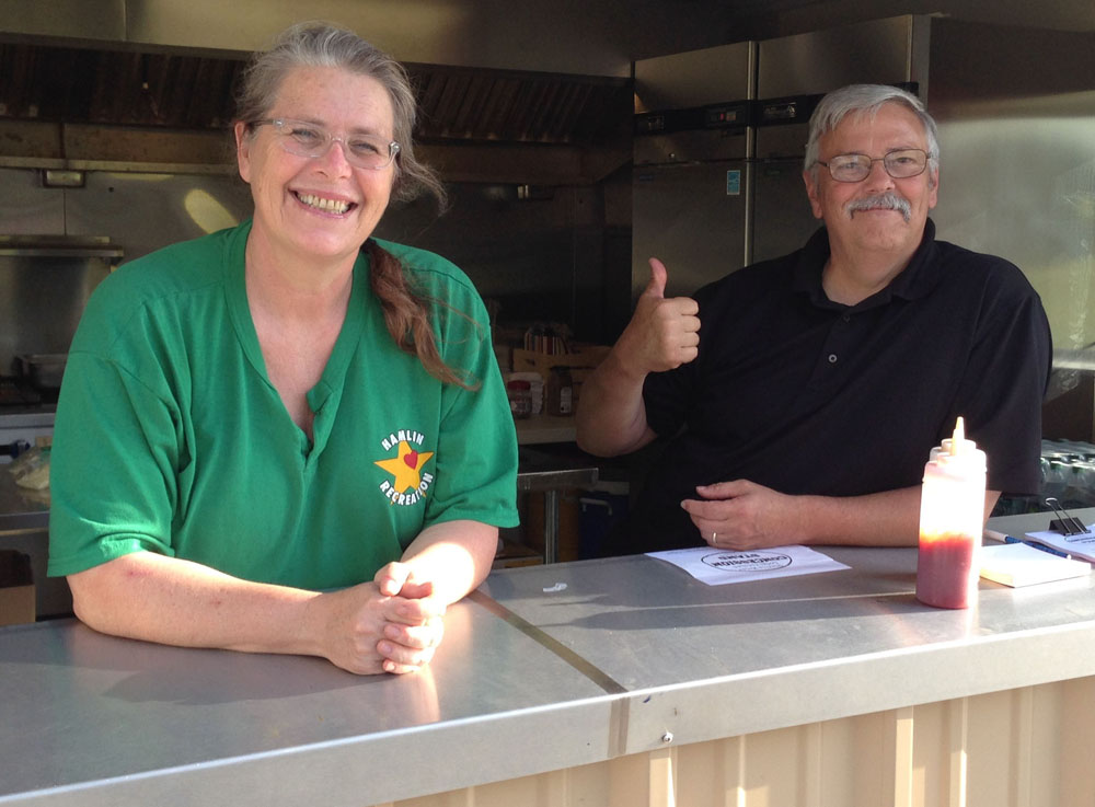 Hamlin Recreation Director Anke Applebaum and Hamlin's Fire Marshal, Tom Maier, currently operate the new Town Park concession stand.