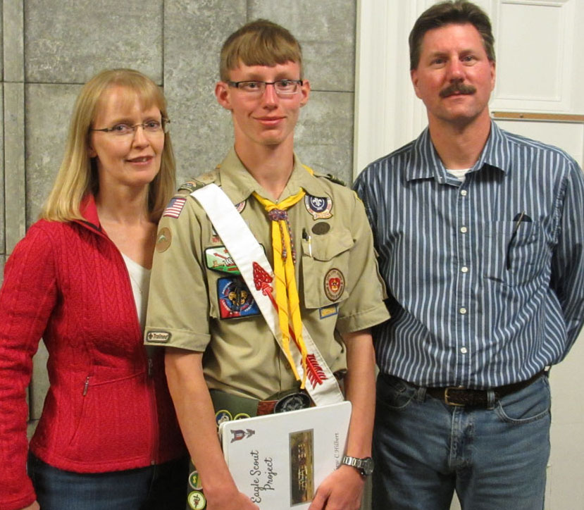 New Eagle Scout Matthew Hilbert with parents Wendy (l) and Christopher Hilbert (r). Hilbert is a senior at Byron-Bergen High School. Provided photo