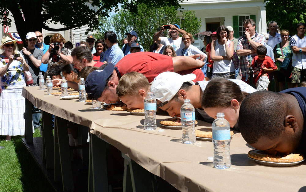 Pie-eating contest at Genesee Country Museum during a previous July 4th event. Photo by Ruby Foote.
