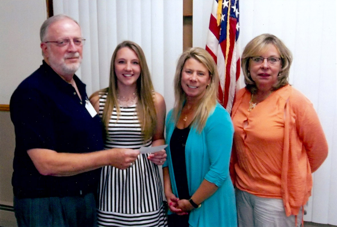 Shown right to left: Kiwanis Presdient Dave Jewell,  award recipient Anna Fisher, Kelly Lewis and  Ruth Ann Tryka, Kiwanis liaisons.