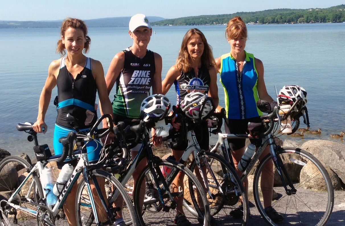 The team enjoys pleasant weather during a 60-mile training ride around Canandaigua Lake recently. Shown are (l-r) Lisa Camillaci, Terry Christo, Patty Pirnie and Christine Burkey-Kelly.