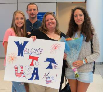 Anna, Russ and Jennifer Conjerti with Maria Lucini, the exchange student the family is hosting. Provided photo