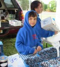 Blueberries are the specialty at Tan Childs booth. Brother and sister Robert III and Christy Childs help their dad, Peter, each week. K. Gabalski